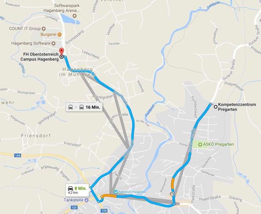 Unmittelbar vom Kompetenzzentrum Pregarten ist eine Bushaltestelle. Mit dem Auto nach Hagenberg sind es 8 Minuten. Zum Bahnhof Pregarten nur 3 Minuten (1,8km) und von dort geht ein Uni-Shutte zum Campus Hagenberg.